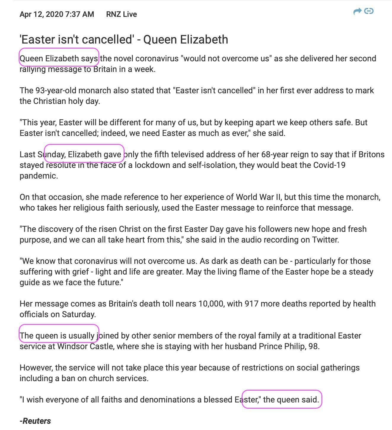 Screenshot of news item about Queen Elizabeth.