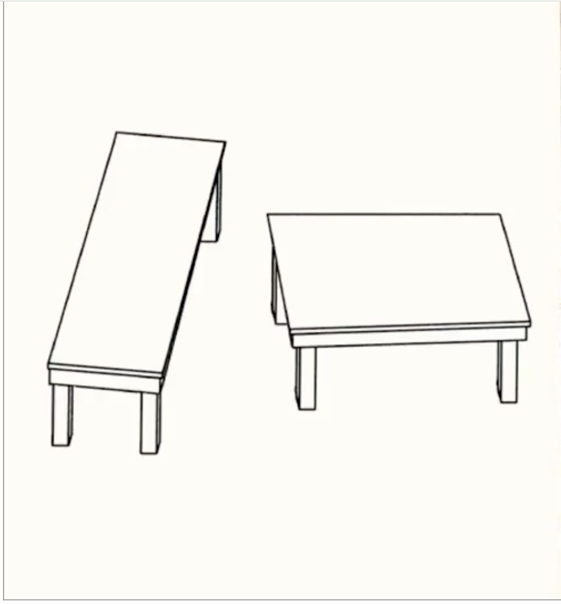 Two tables in diagram view, at an angle to each other.