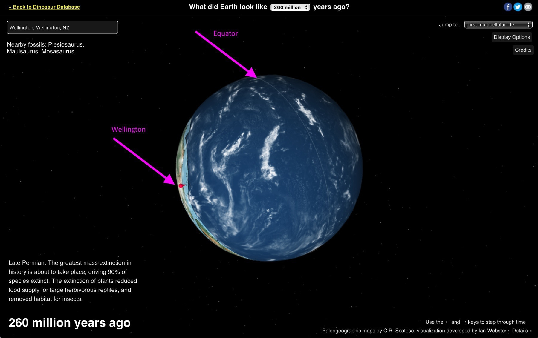 Screenshot showing Wellington at the South Pole, with equator marked for reference.