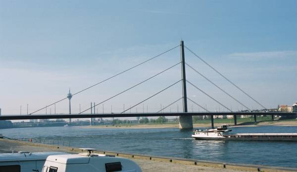 A 258 metre long cable-stayed bridge across the Rhine.