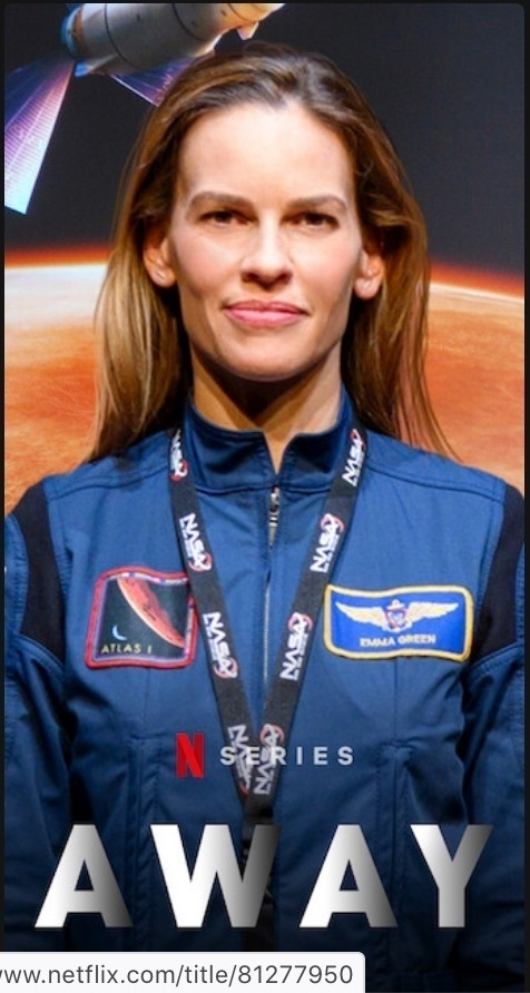 Commander of the fictional Away mission:  Hilary Swank in character.