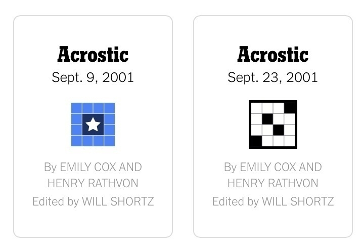 Screenshot of the Acrostic archive showing fortnightly puzzles from 09 and 23 September 2001.