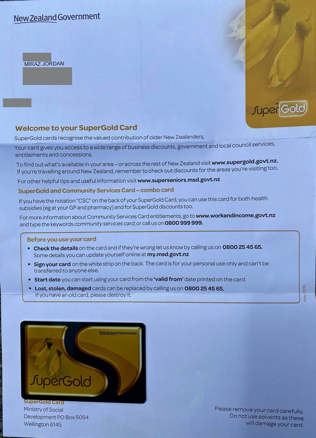 Letter and Super Gold Card.