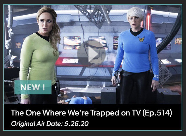 Screenshot from the episode, showing two characters dressed as James T Kirk and Spock.