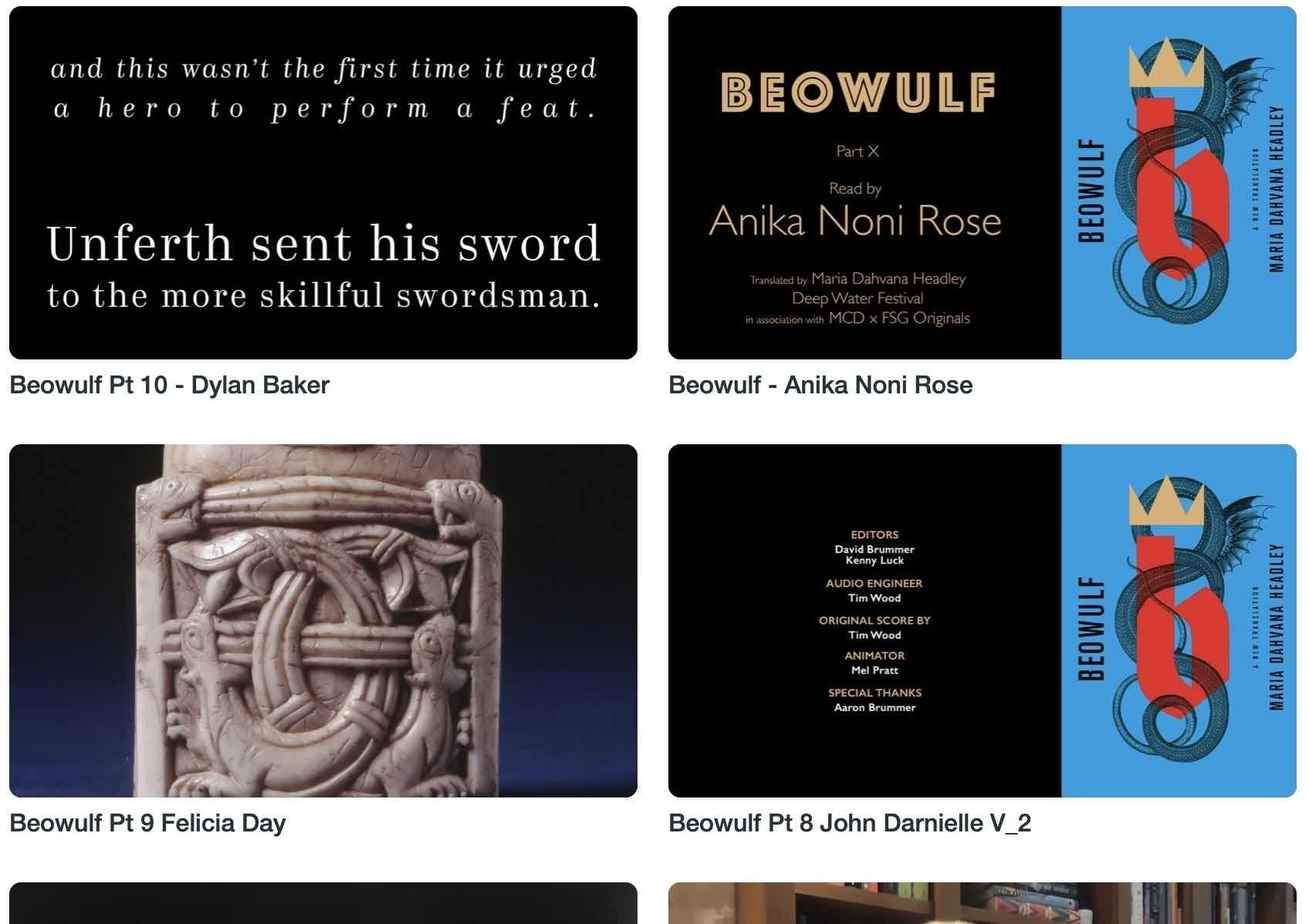 Screenshot of Beowulf readings page.