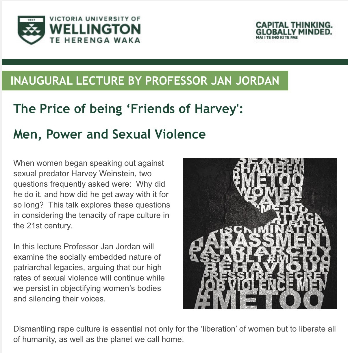 Flyer for the lecture.