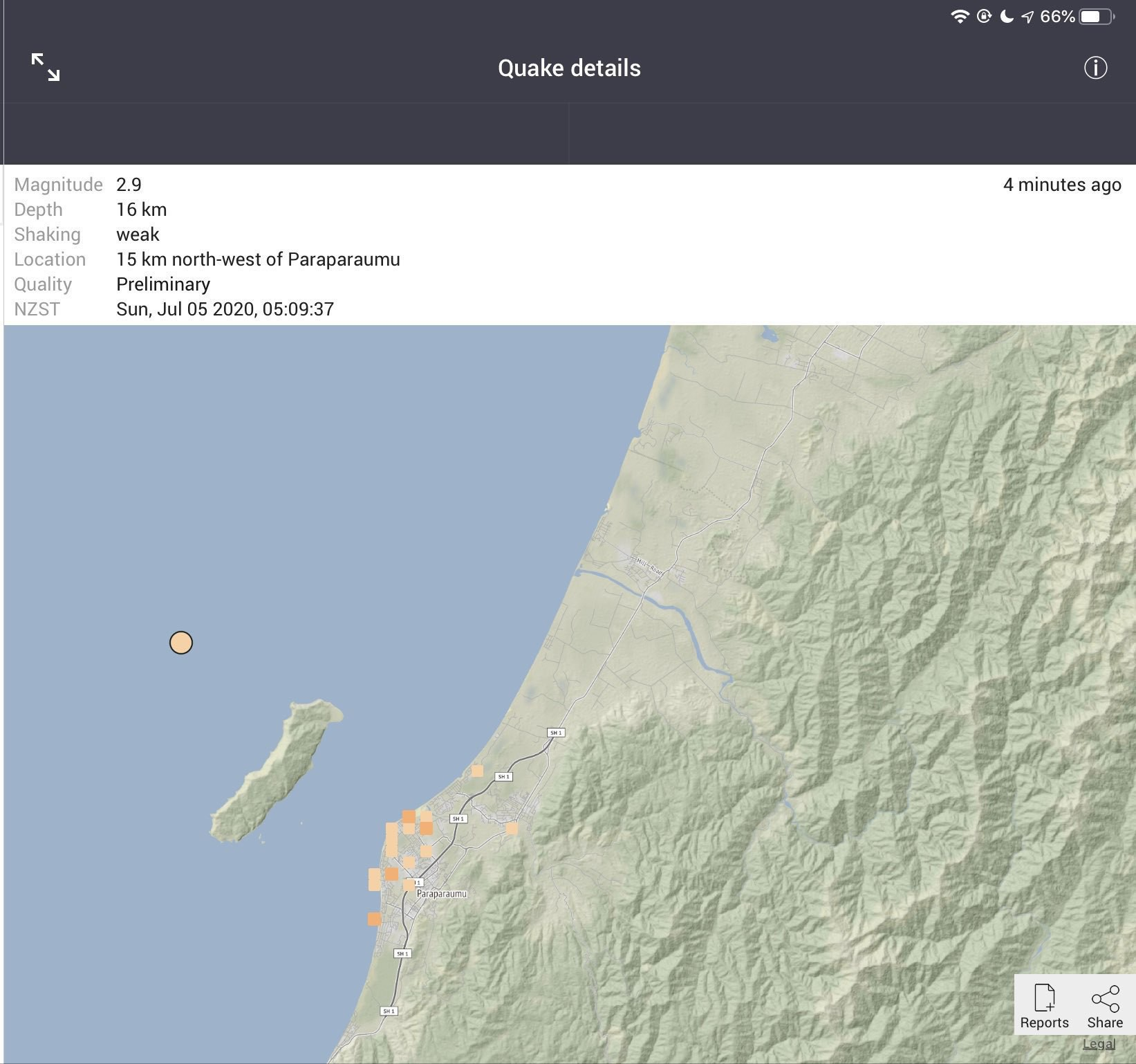 Map shows quake near Kapiti Island.