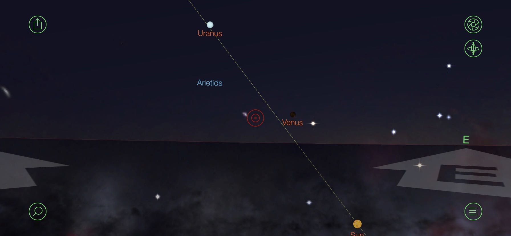 Night sky map featuring Venus low above the northeast horizon.