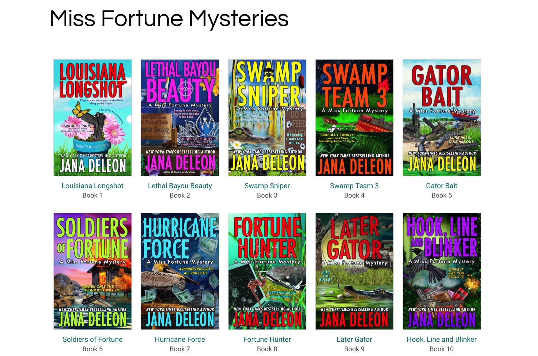 Miss Fortune Mysteries, screenshot of 10 book covers.