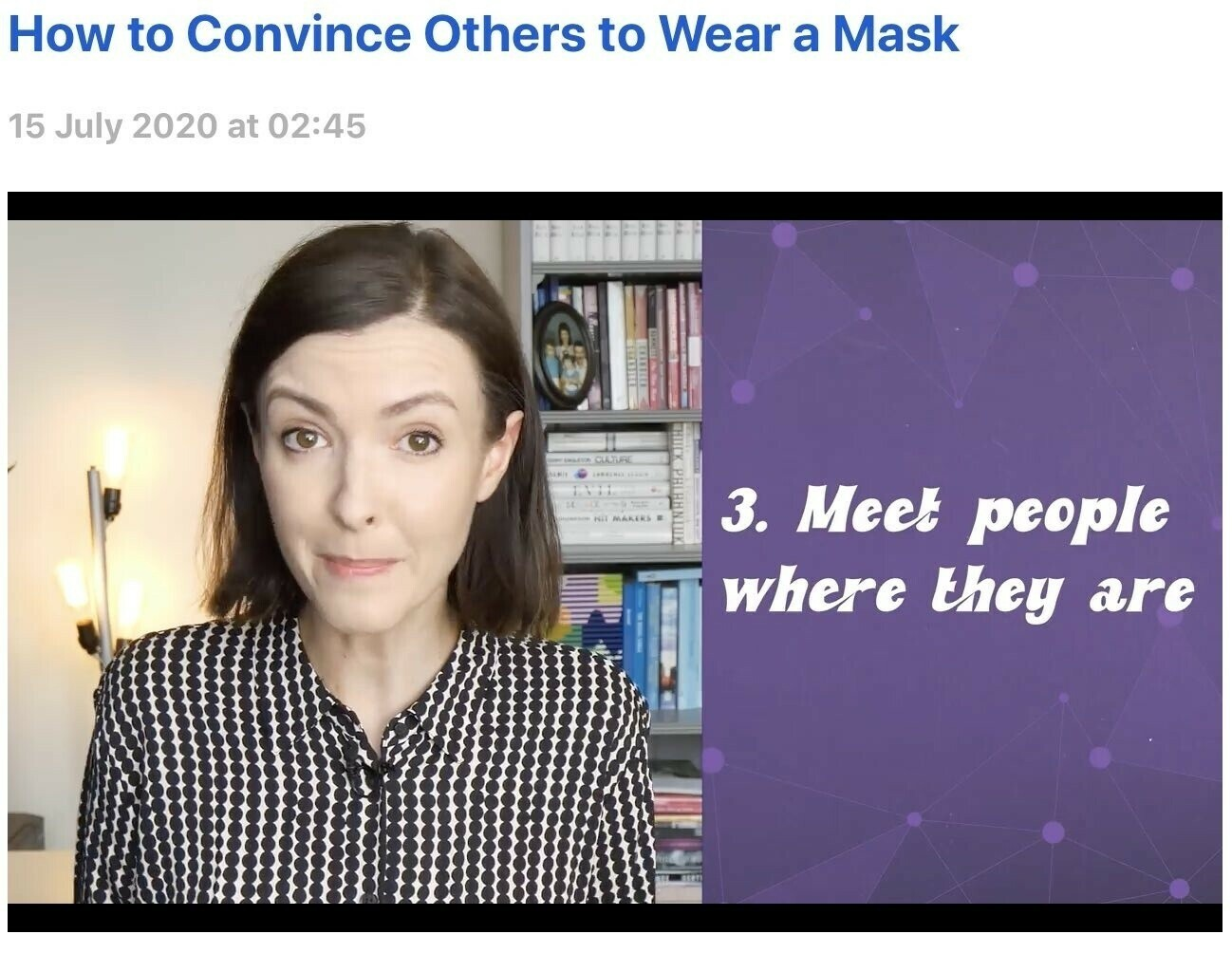 Screenshot from video How to Convince Others to Wear a Mask.