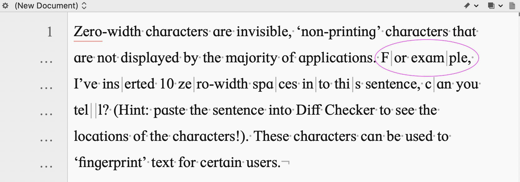 Screenshot from BBEdit displaying the zero-width characters, with an example highlighted.