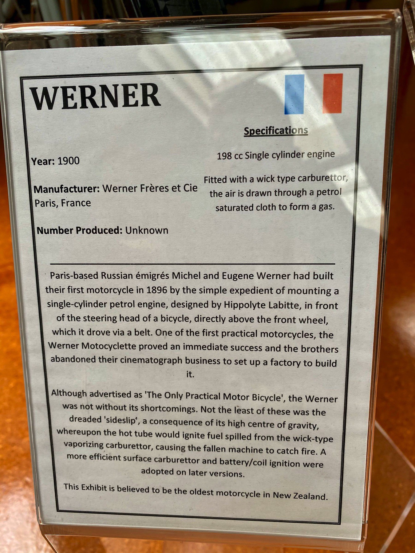 Werner motorbike from 1900 info card.