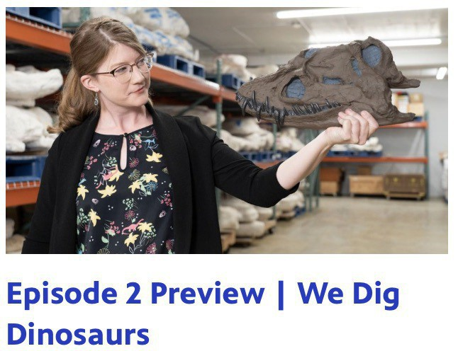 Screenshot from the episode preview shows Emily Graslie holding a dinosaur part.