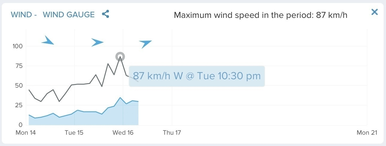 Wind speed graph showing strong winds and gusts.