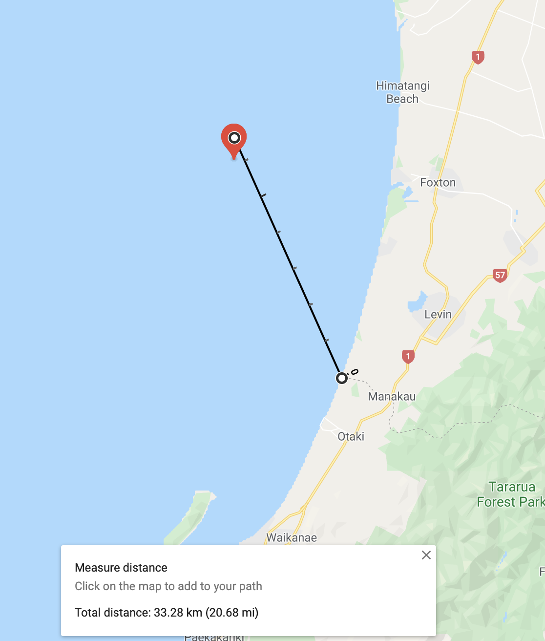 Location of the quake, offshore, about 33 Km away.