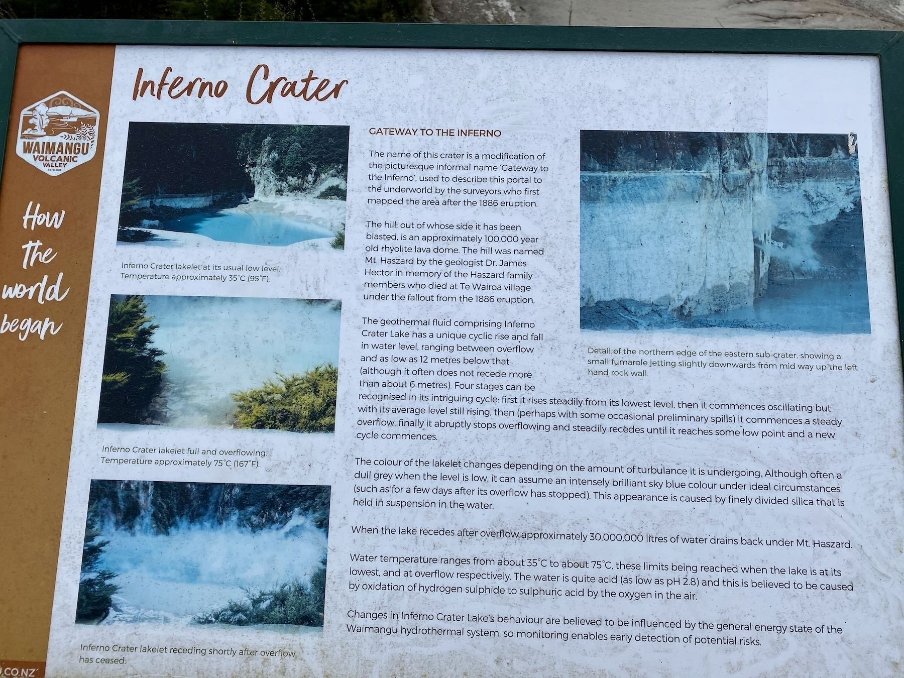 Information board for Inferno Lake.