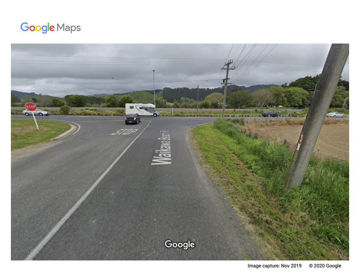 Google Maps - Waikawa Beach Road and SH1 intersection.