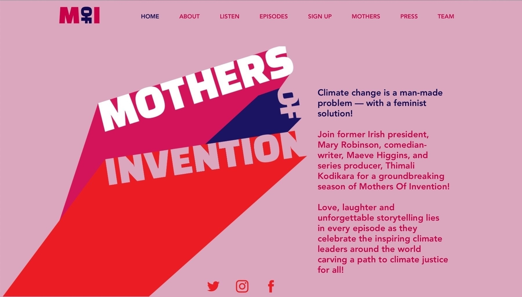 Screenshot of the the cover page for Mothers of Invention.