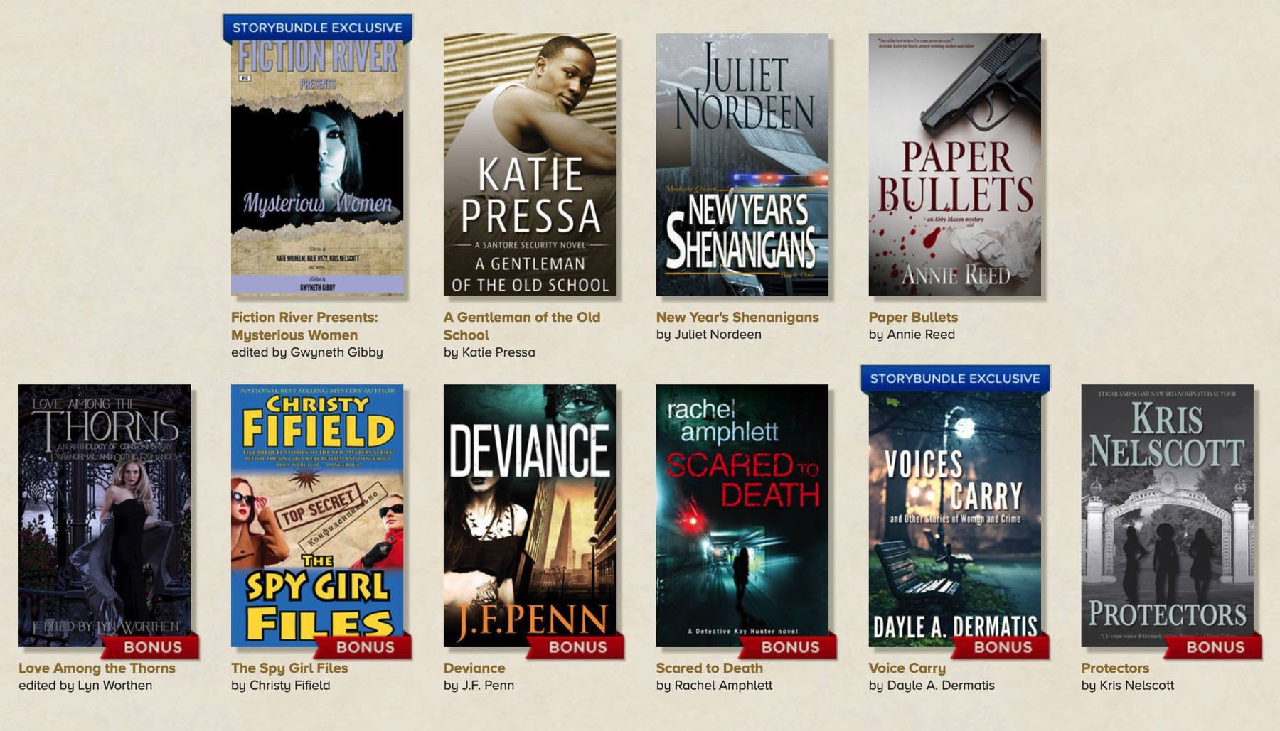 SCreenshot of the 10 books available.