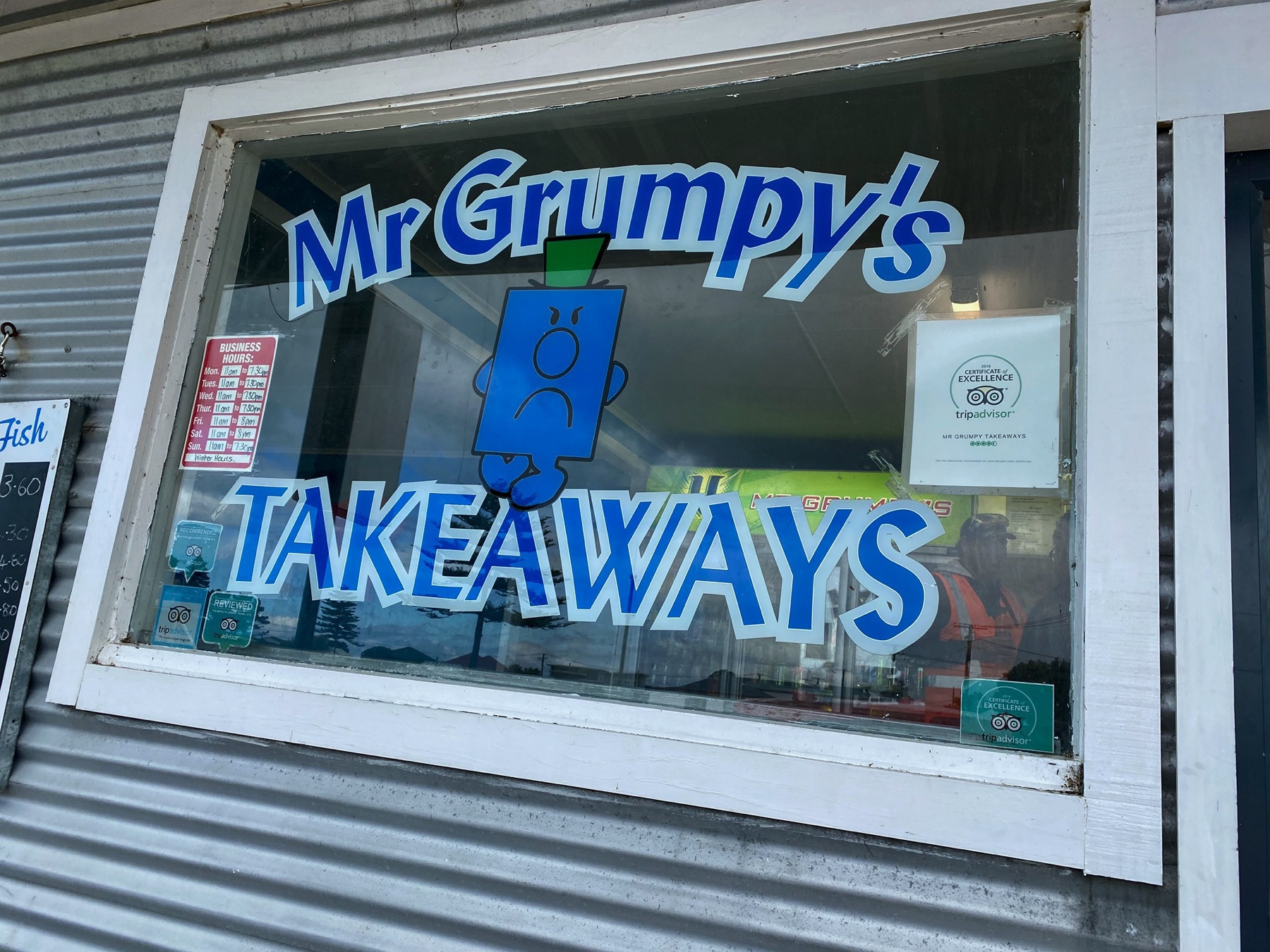 Window for Mr Grumpys takeaways.