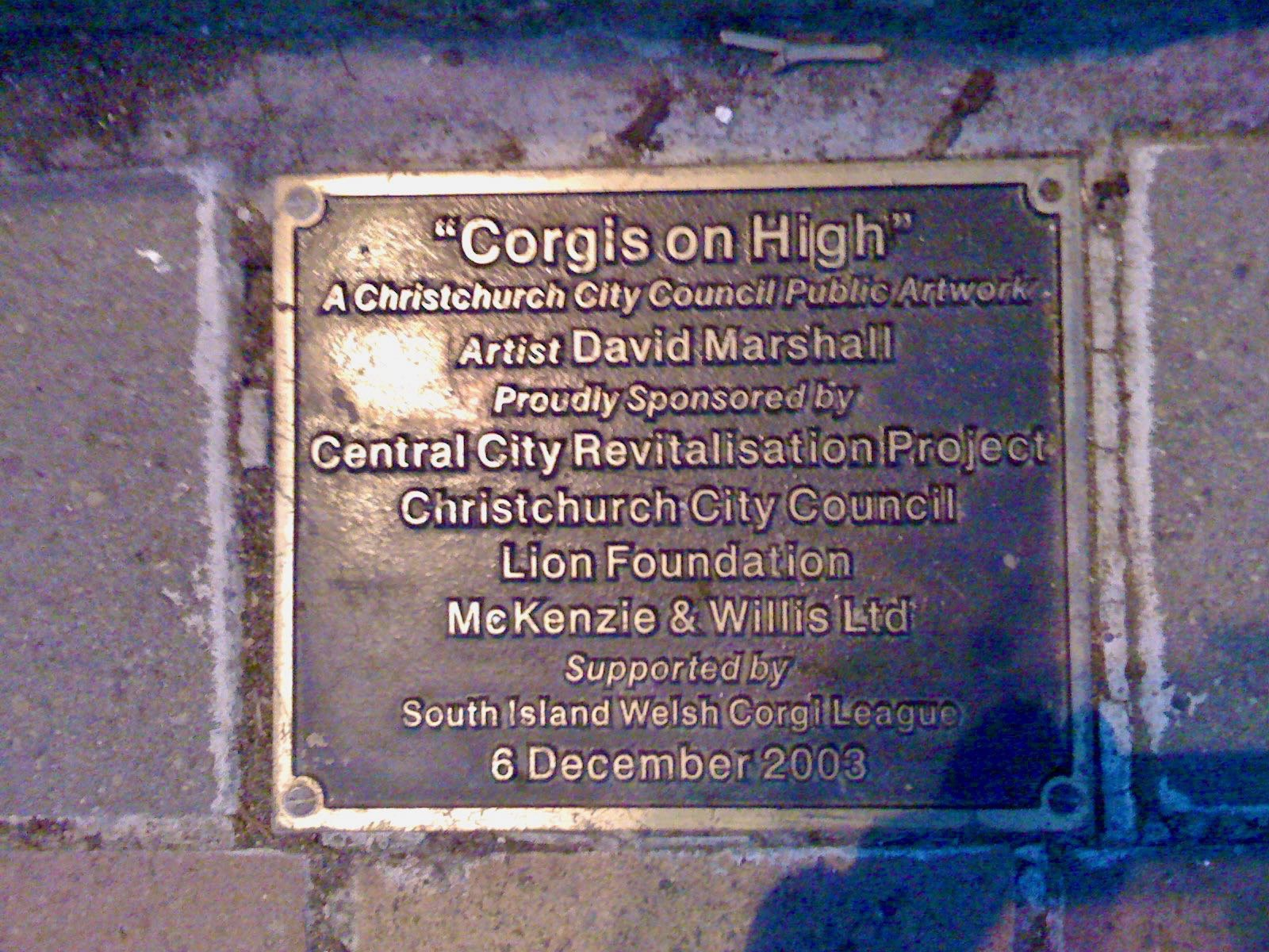 Plaque for Corgis on High.