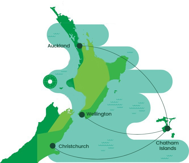 Map showing Rēkohu east of the main islands, with 3 air routes drawn in.