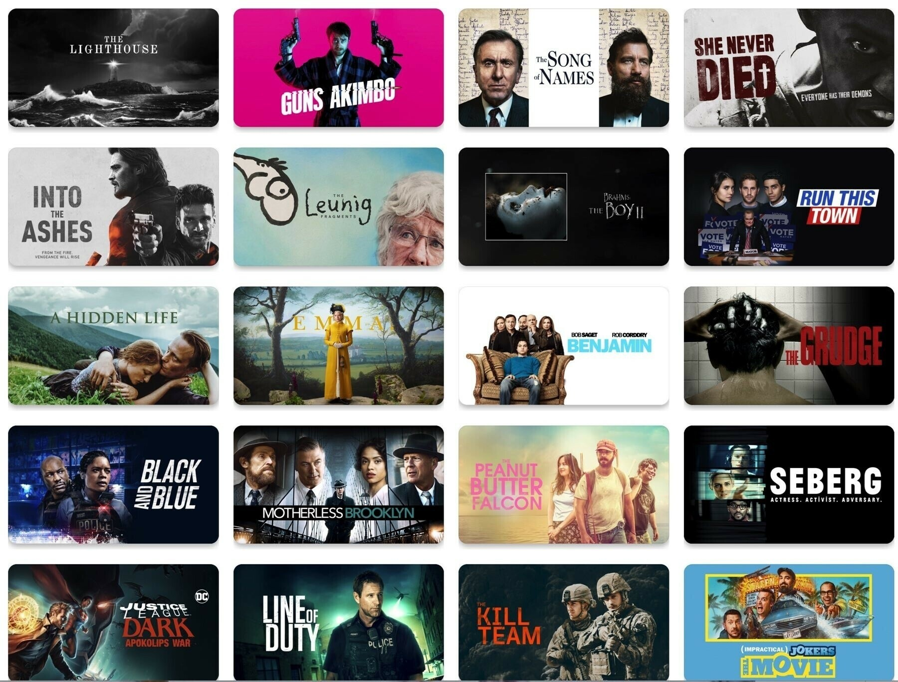 Screenshot of TV+ Latest releases showing mostly male-focused movies.