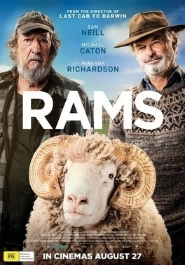 Rams movie poster shows two grizzled men and a prize ram.