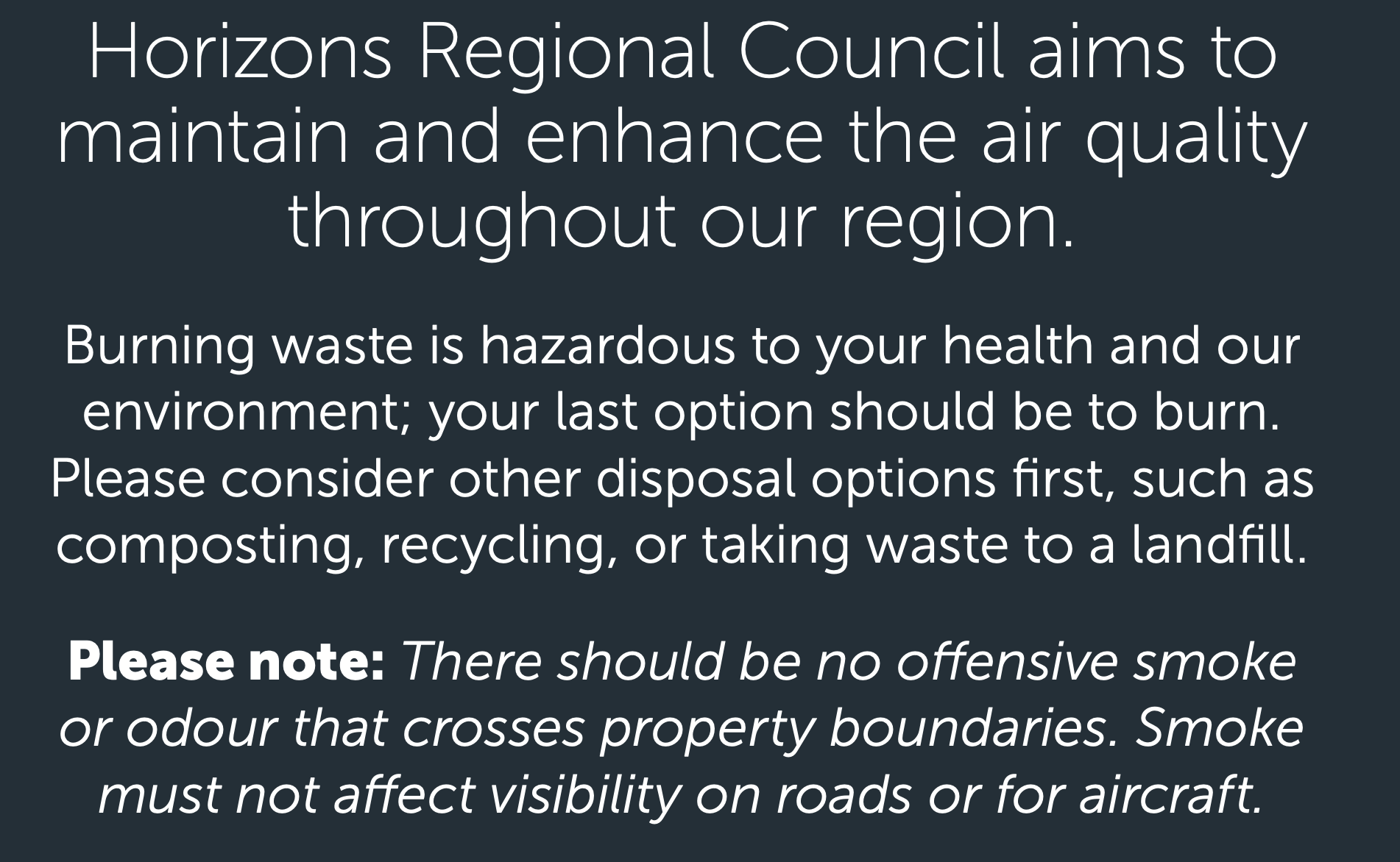 Burning waste notice from Horizons Regional Council.