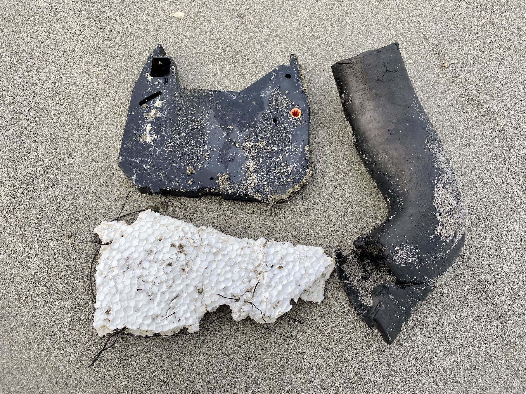 Polystyrene, a cassette from a typewriter(?), rubber hose from a motor vehicle.