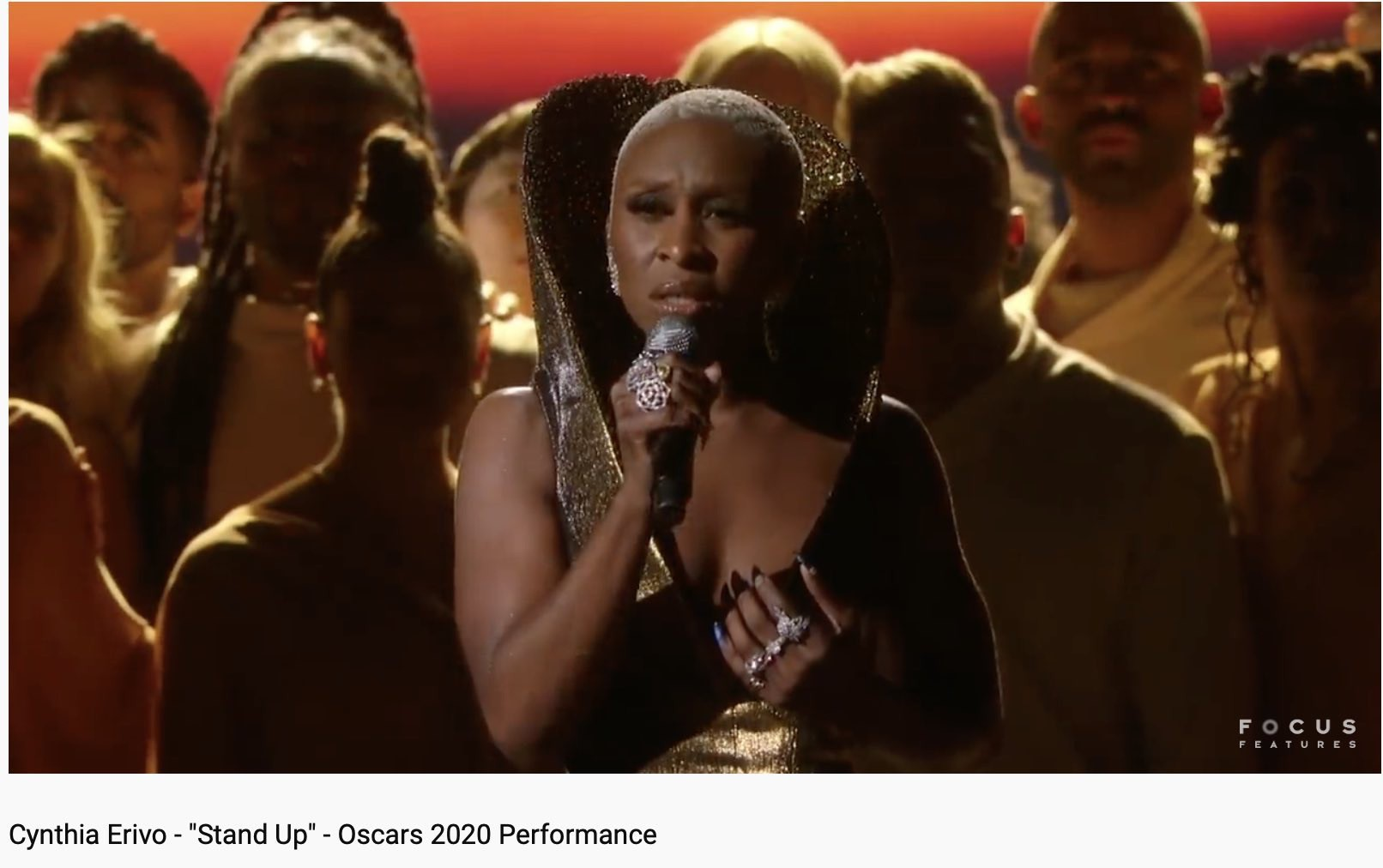 Cynthia Erivo singing on stage.