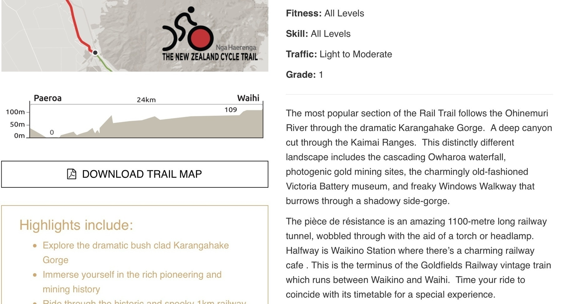 Web page screenshot about the bike trail.
