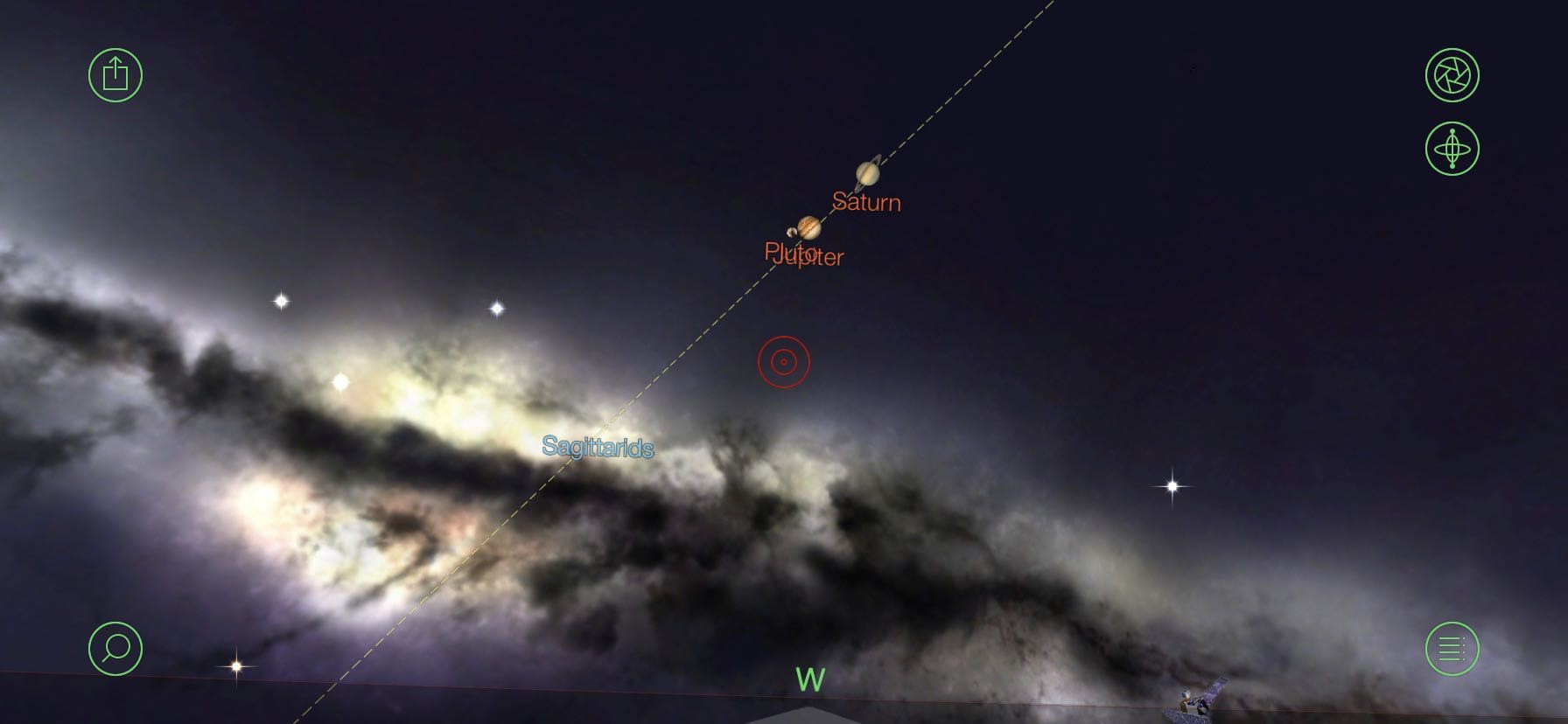 Star map featuring Saturn and Jupiter near the galactic core.