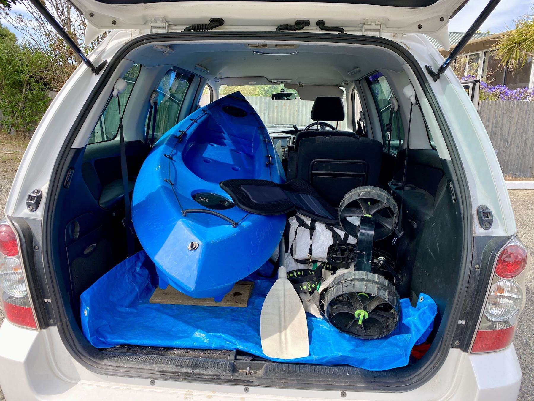 Kayak and gear in the back of my car.