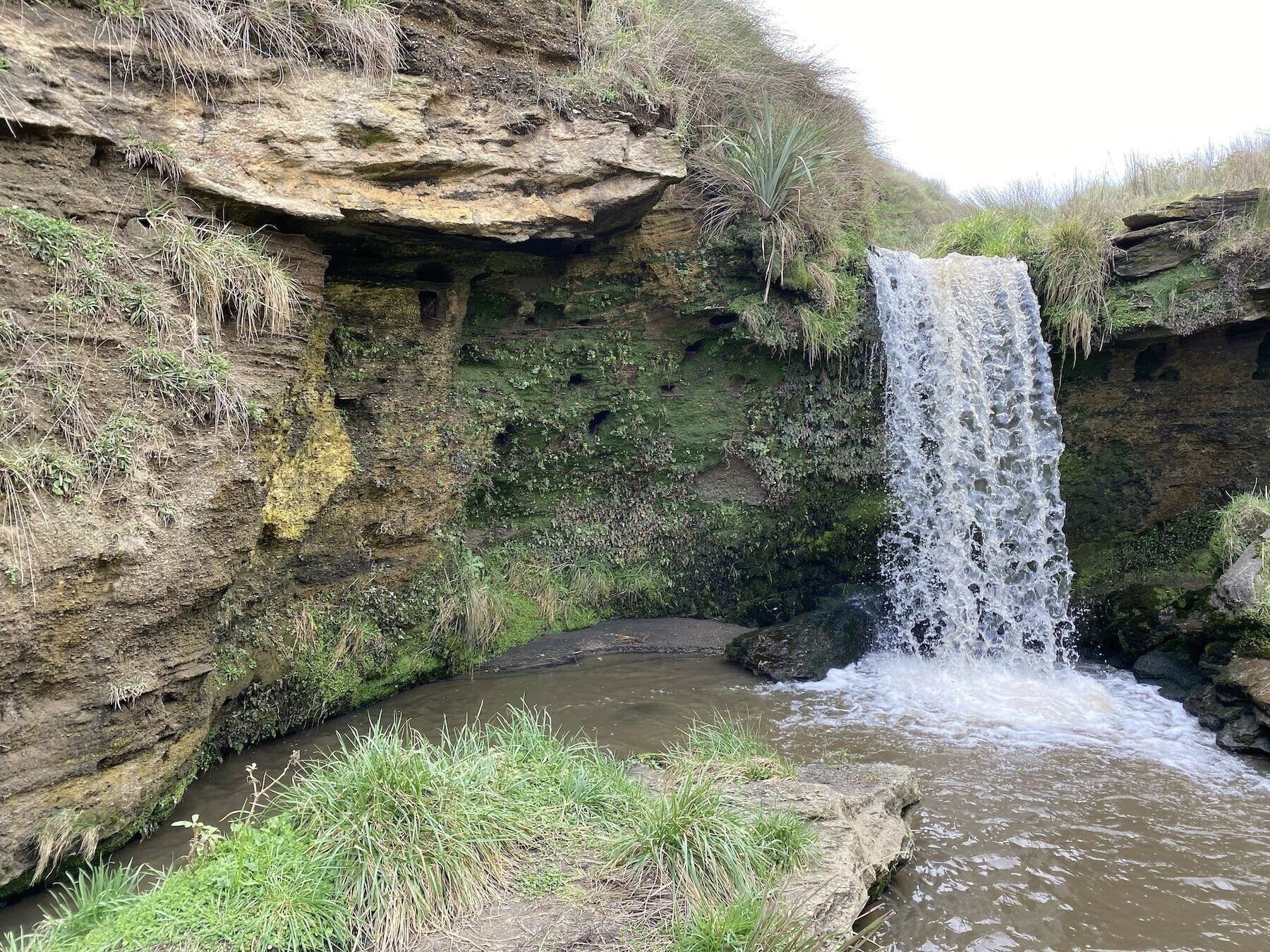 The upper waterfall, about 4 metres high.