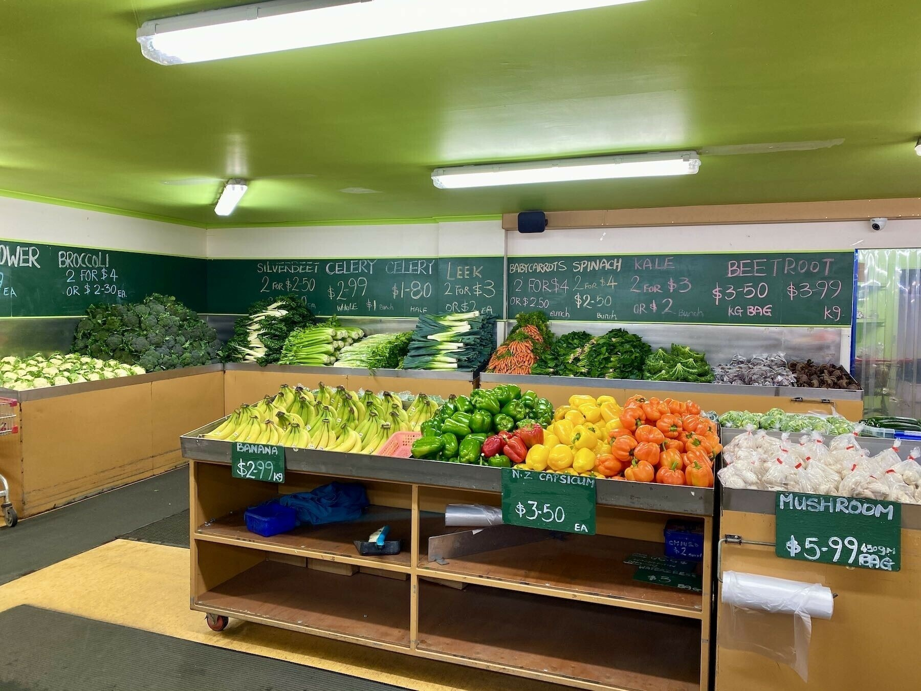 Shelves of fresh vegetables.