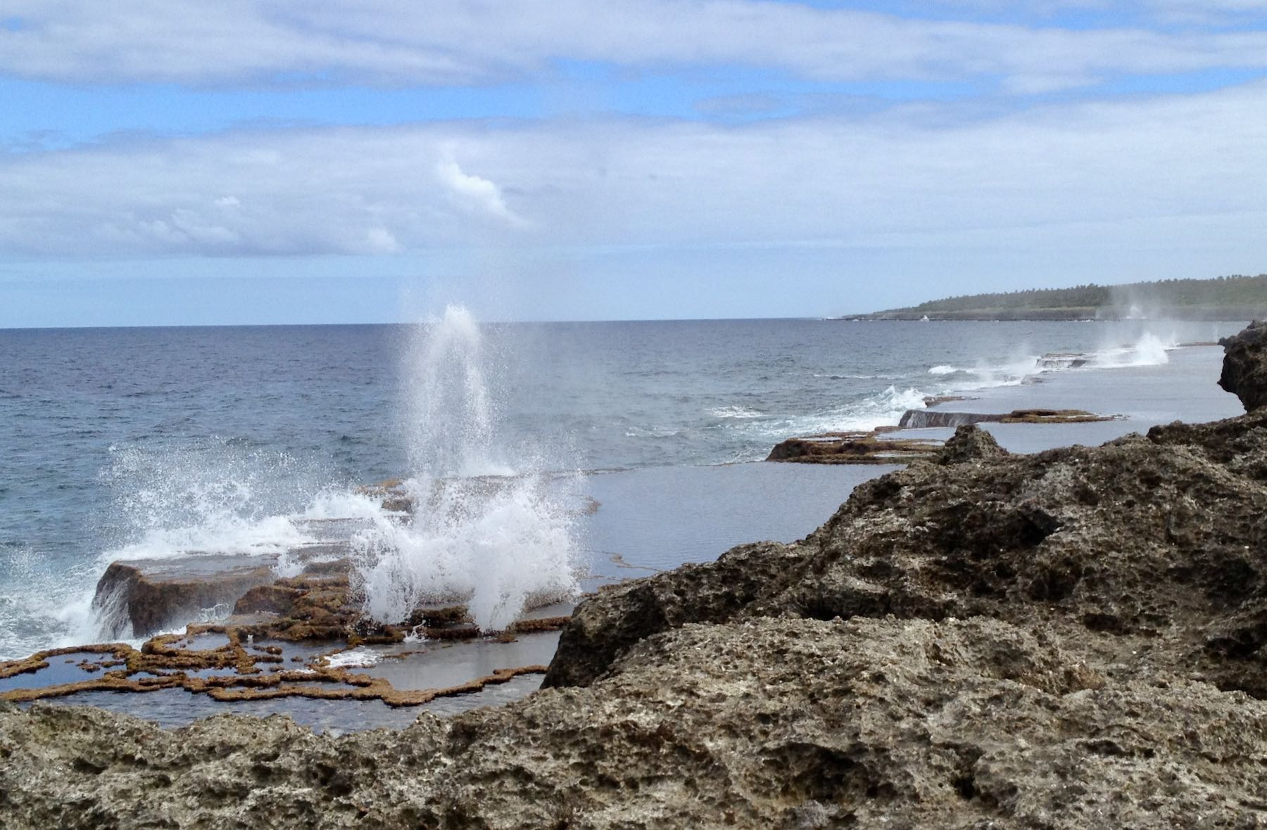 Water on the coast emerging from blowholes.
