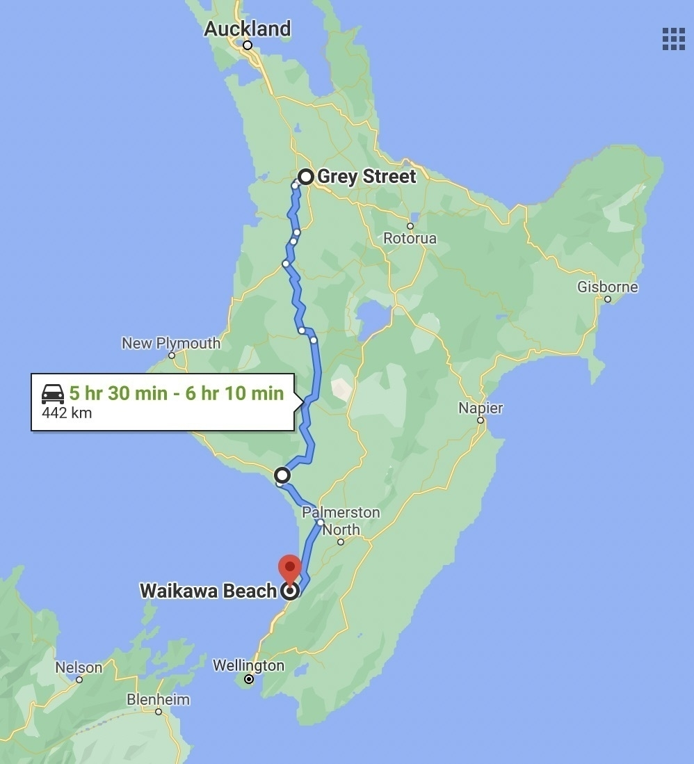 Map showing route from Hamilton to Waikawa Beach.