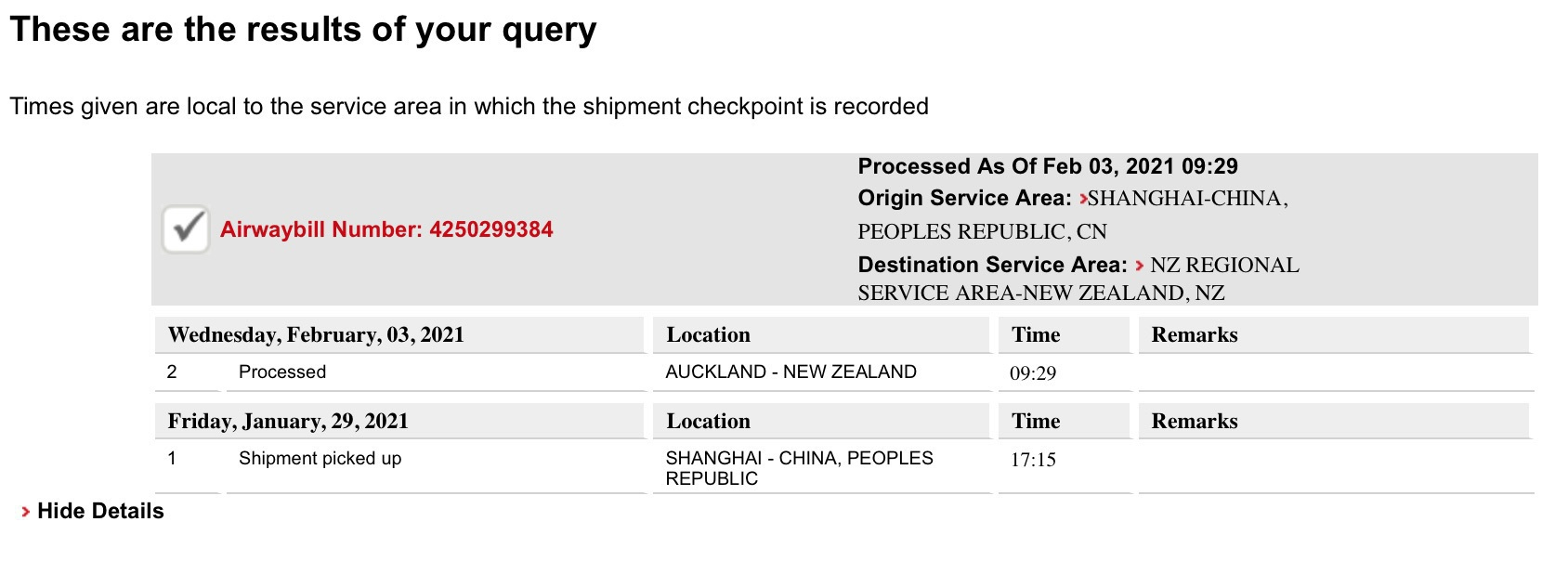 MacBook Pro has arrived in Auckland from China.