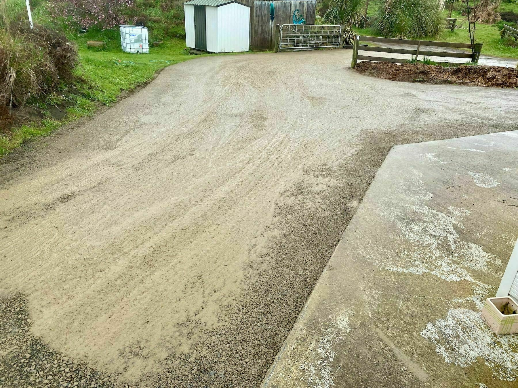 Our resurfaced driveway section.