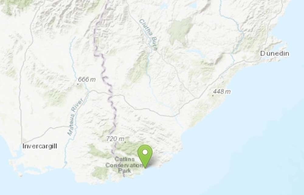 Map showing location between Invercargill and Dunedin.