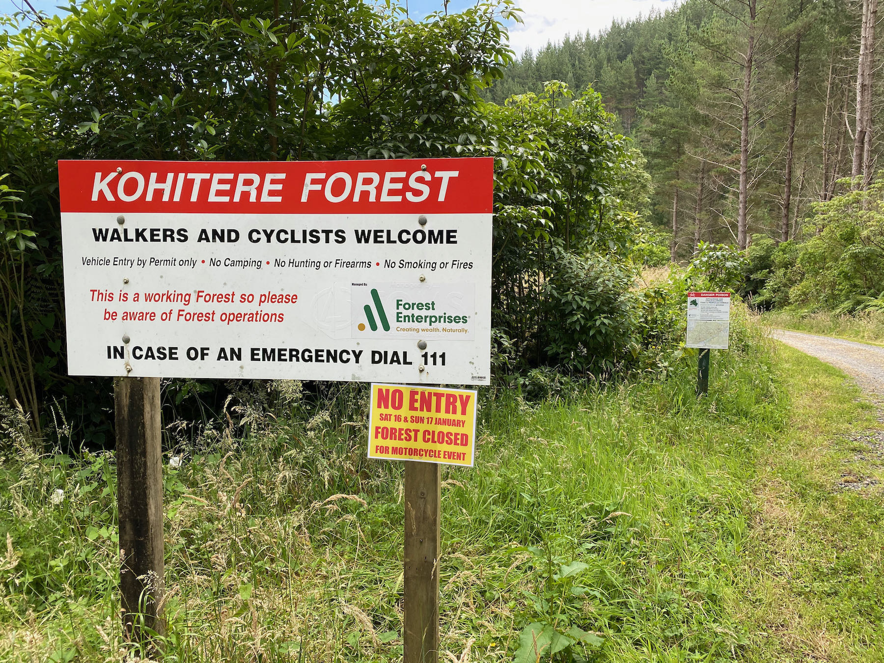 Kohitere Forest sign.