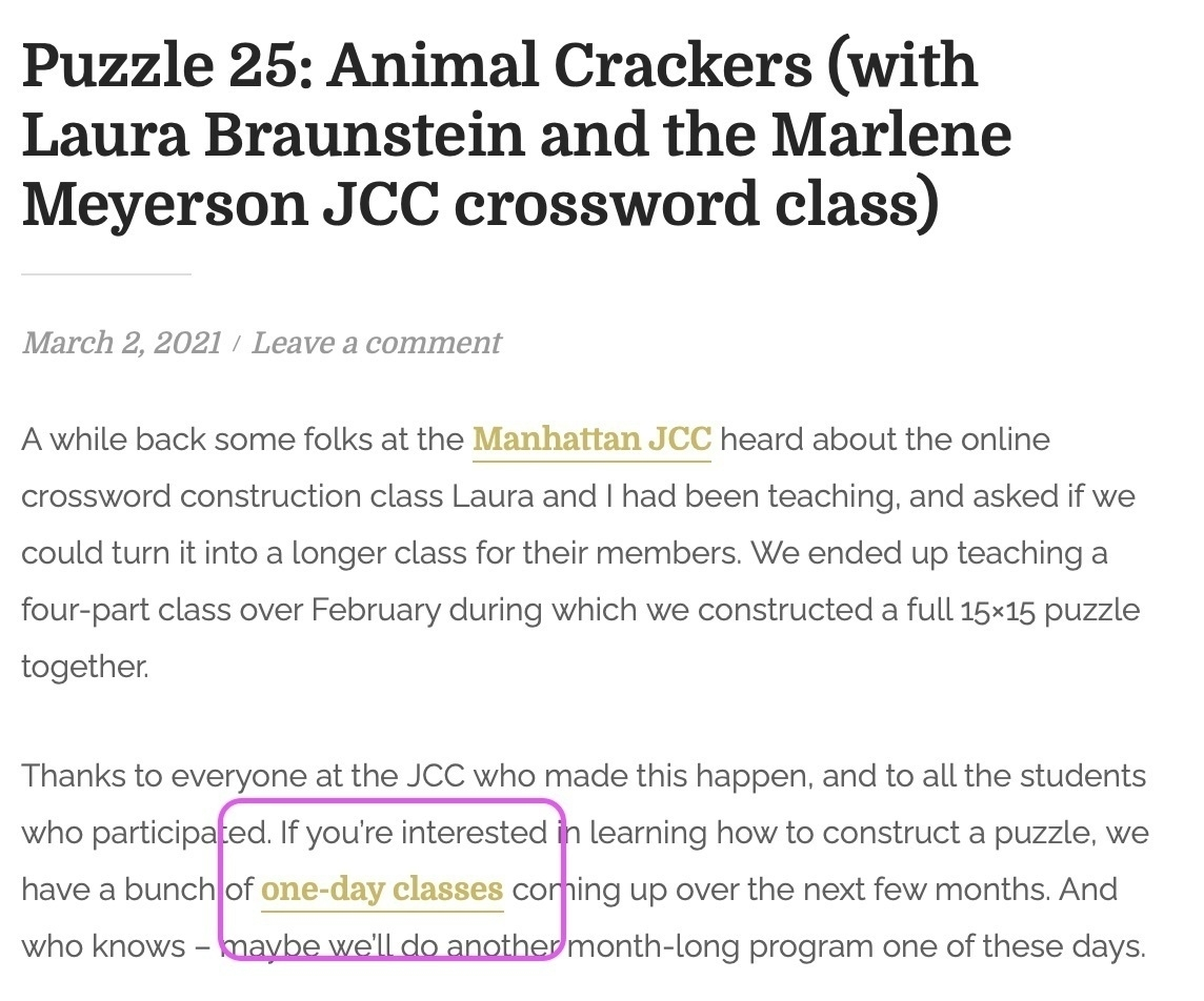 Screenshot of page with link to class highlighted.