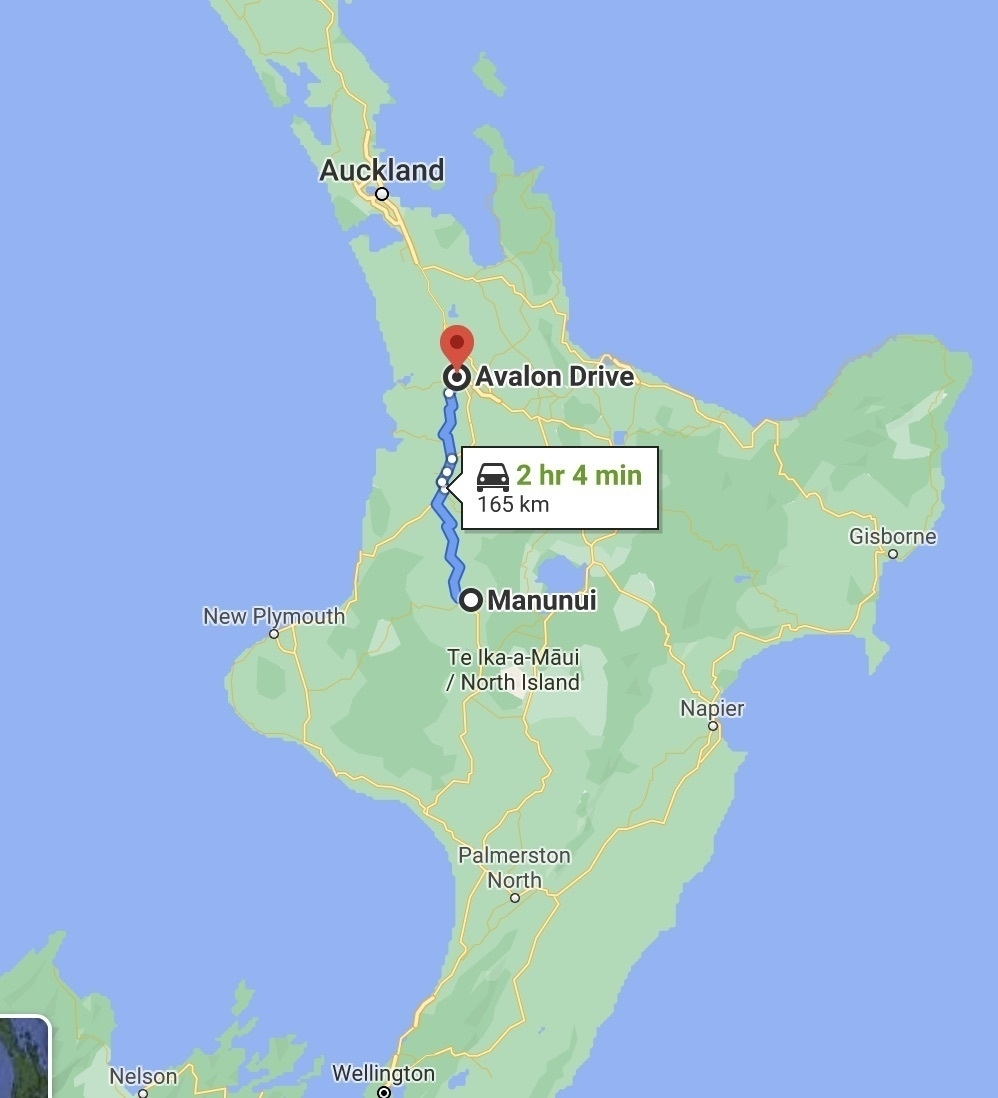 Map showing a route from Manunui to Hamilton in Aotearoa New Zealand.