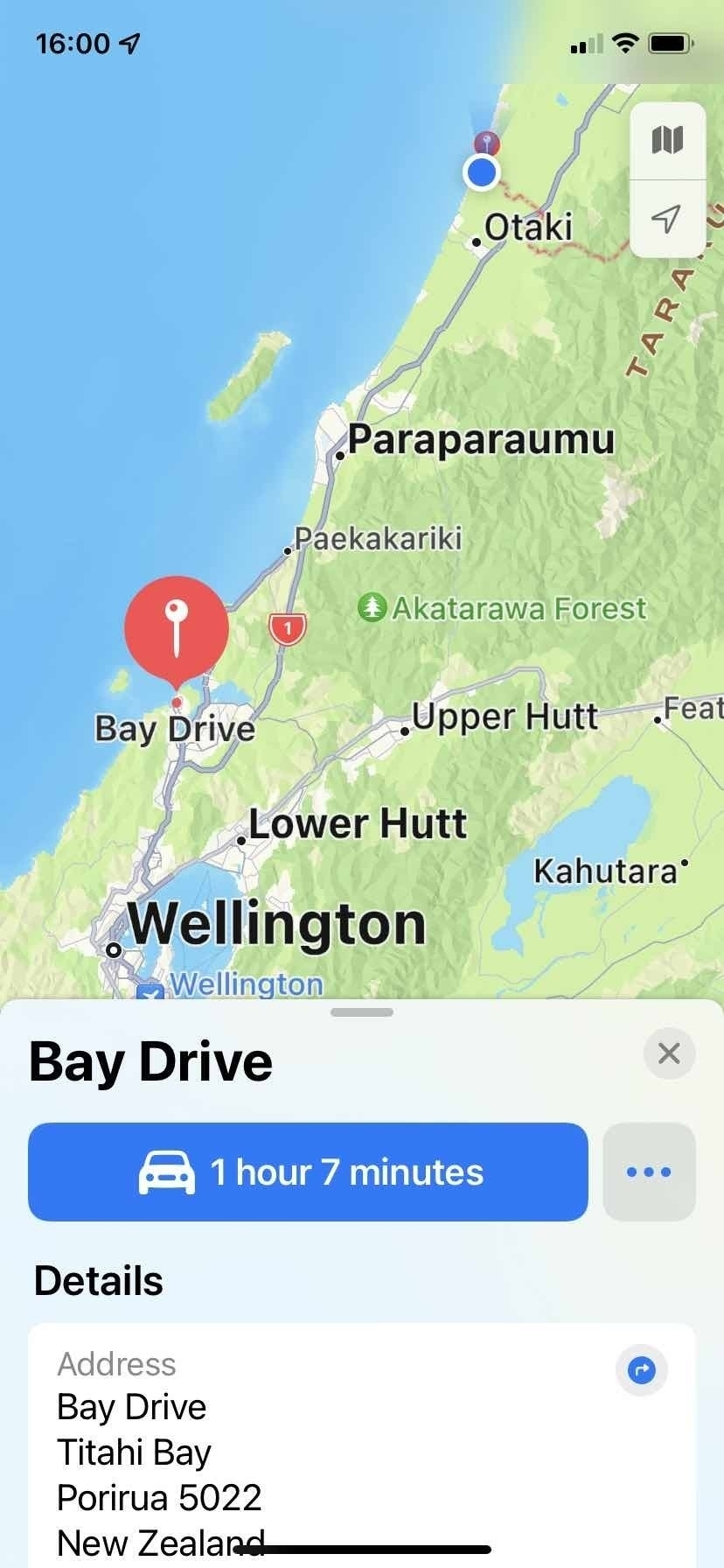 Maps screenshot with driving directions.