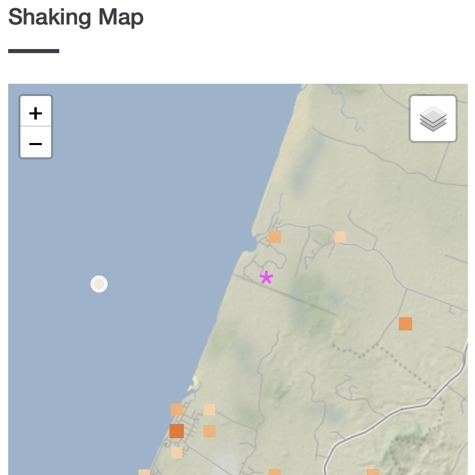 Map showing nearby quake.