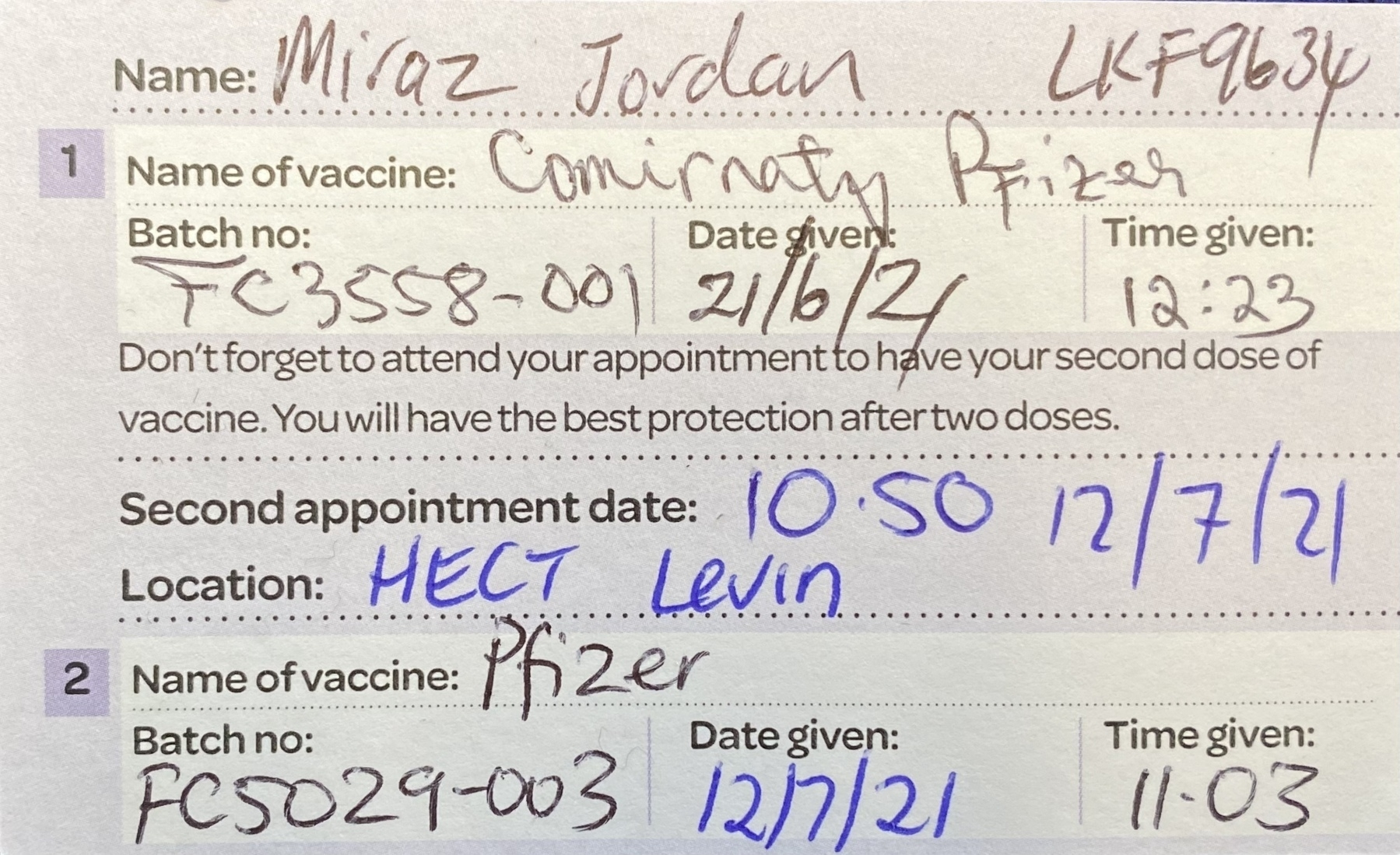 Vaccination card.