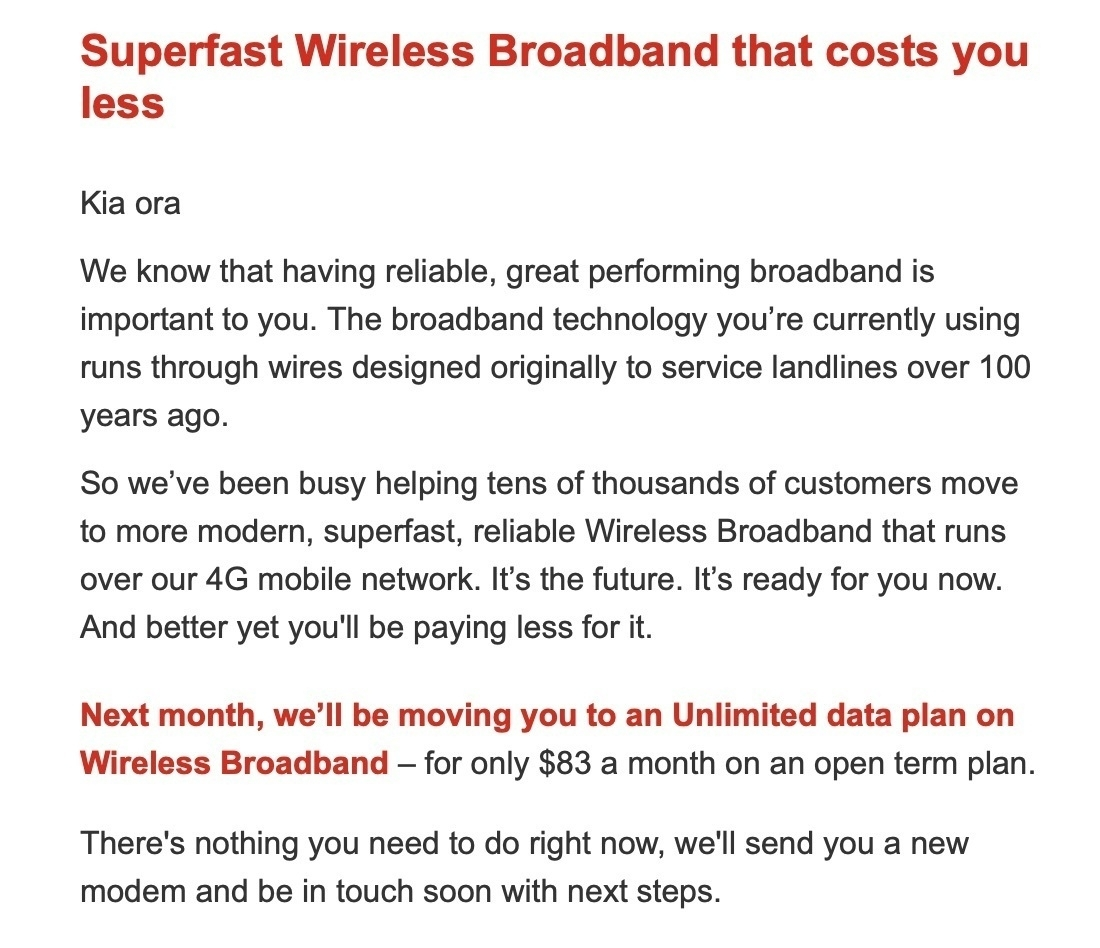 Email offering superfast wireless broadband over 4G.