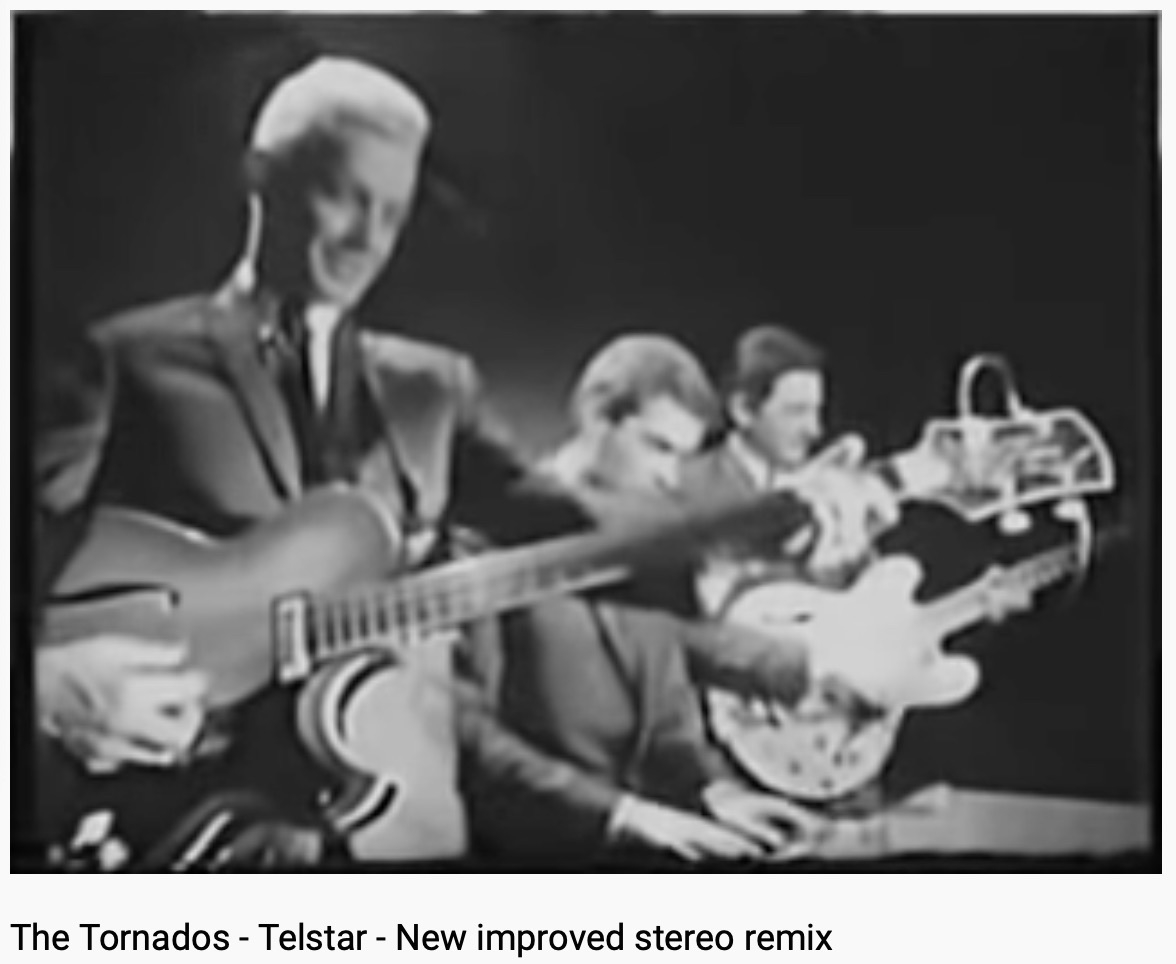 Grainy black and white film of The Tornados playing Telstar.