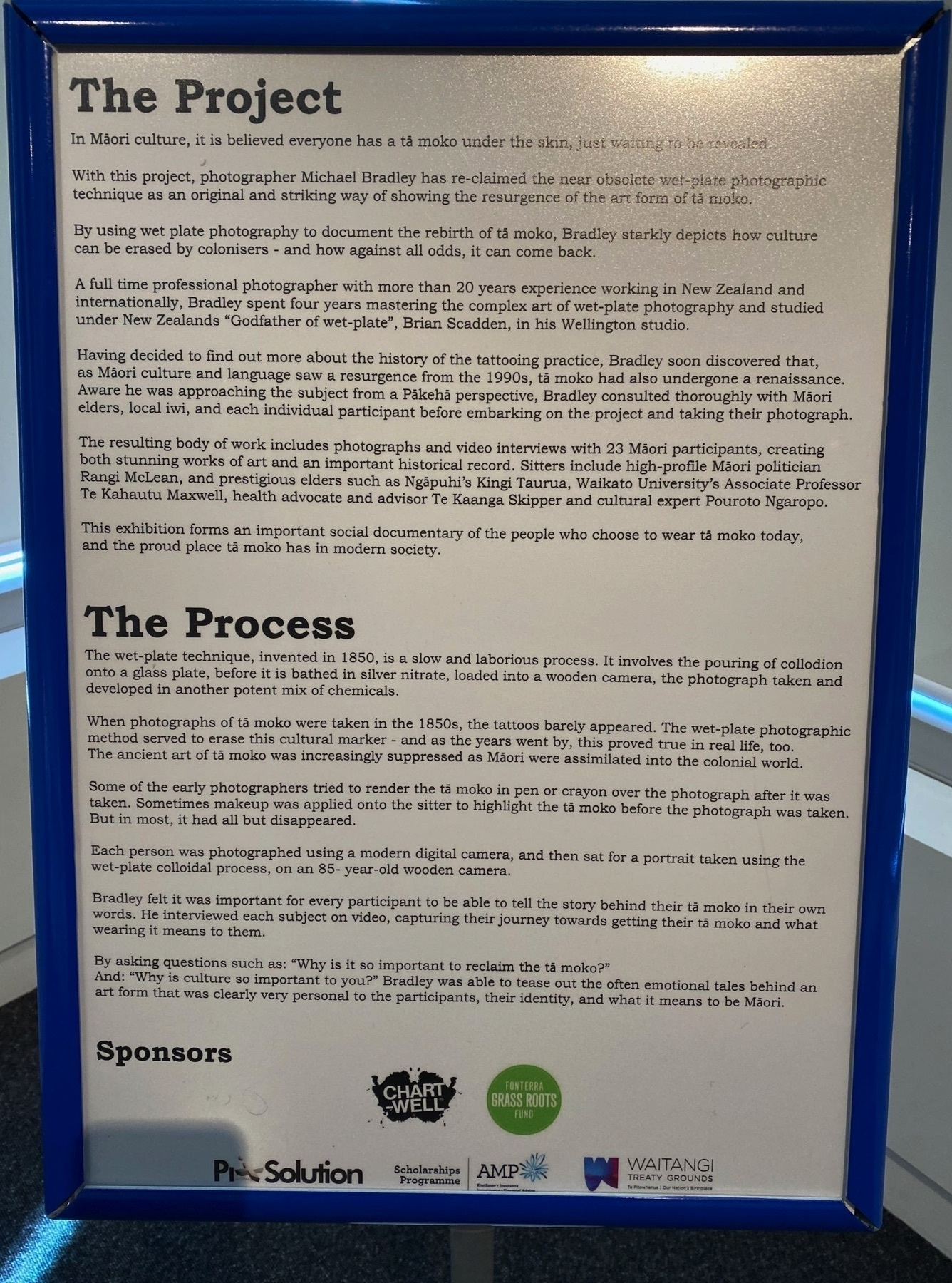 Info board with extensive details of the project.